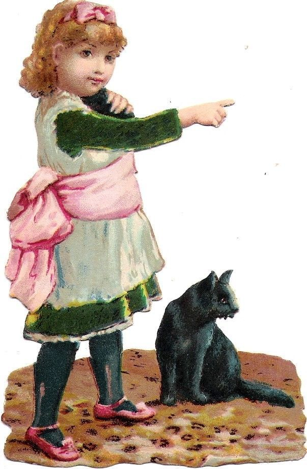 Oblaten Glanzbild scrap die cut chromo Kind child enfant Katze cat chat