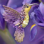 Украшения ручной работы. Ярмарка Мастеров - ручная работа миниатюрная брошь - лавандовая птица. Handmade.