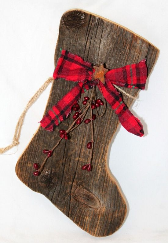 Get out the jigsaw! Stocking/Boot made from reclaimed or barn wood!