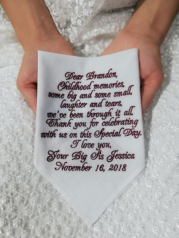 Brother Of The Bride Gift From Sister Personalized Embroidered Etsy Bride Gifts Custom Handkerchief Sister Personalized