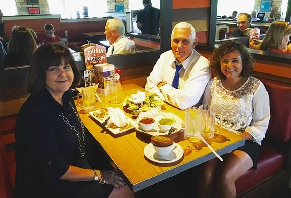 Trump's veep pick Pence baffles with optical-illusion reflection photo     - CNET  Enlarge Image  Mike Pences daughter is missing from the mirror.                                              Mike Pence                                          It seems normal enough on the surface. Indiana Governor Mike Pence Donald Trumps choice for vice president sits at a table in a Chilis restaurant with his family having dinner. He shares the photo on Twitter on Saturday. It gets over 5000 heart-shaped…