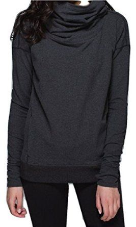 Lululemon Stress Less Hoodie Heathered Grey Cowl Neck Sweater at Amazon Women's Clothing store: