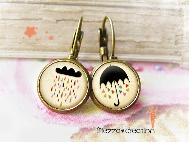 Boucles d'oreille ° Jolie Pluie ° nuage parapluie verre rétro