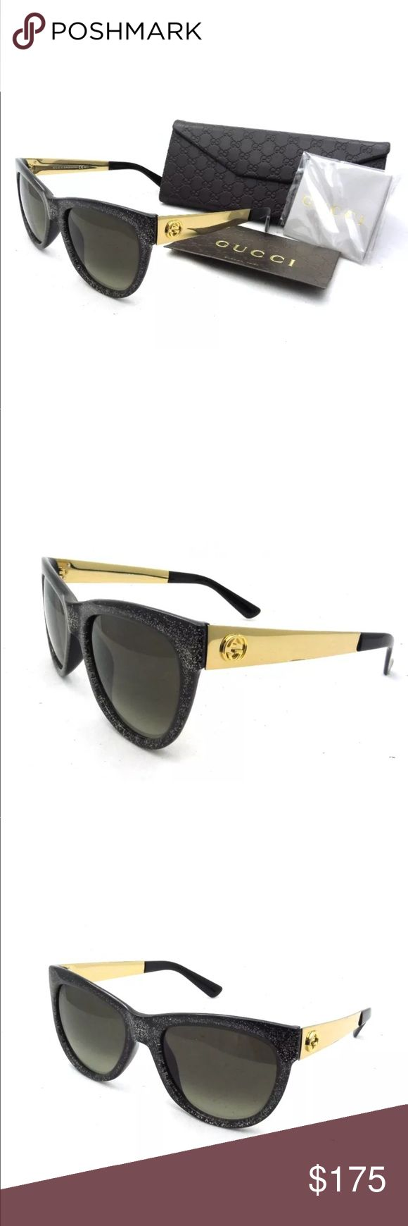 Women's Gucci Glasses Brand New! Never Used!  New AUTHENTIC Gucci Glitter Black Gold Gradient Sunglasses GG3739 N S VJZ HA Made In Itlay What's include: Everything in the first pic, Hard Case, Cleaning cloth, certificate card  *All our brand name product are shipped to us from the brand  or department store distribution center in USA and have original receipt.  glitter frame, gold metal logo temple modified butterfly frame style Size: 55/19/140 imported, made in italy Gucci Accessories…