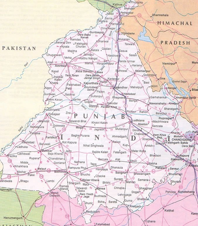 Road Map Of Punjab MAP OF PUNJAB  Tourist and Road Map of Punjab | maps | Map