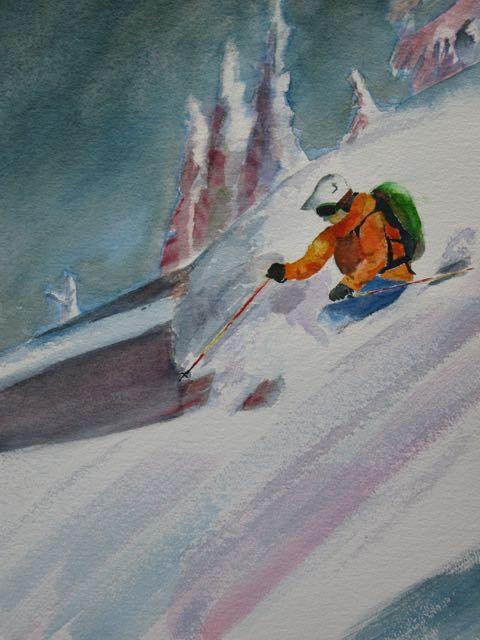 Powder skiing, watercolour, by Bob McQueen