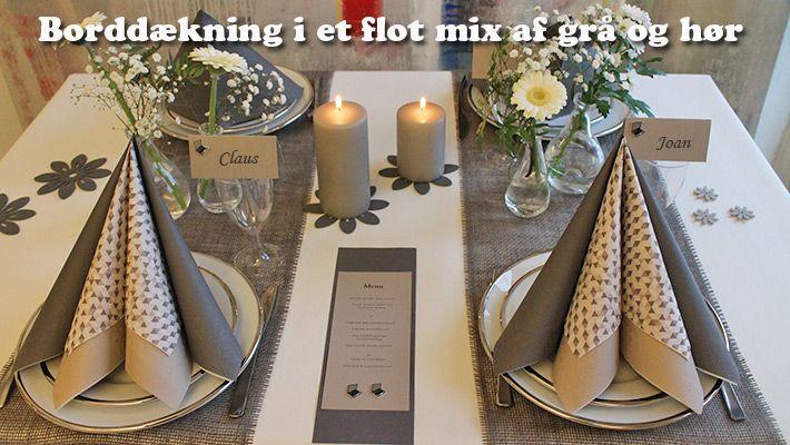 ide til grå borddækning til fest