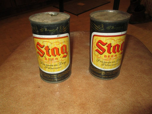 STAG BEER FLAT TOP BEER CANS BELLEVILLE ILLINOIS