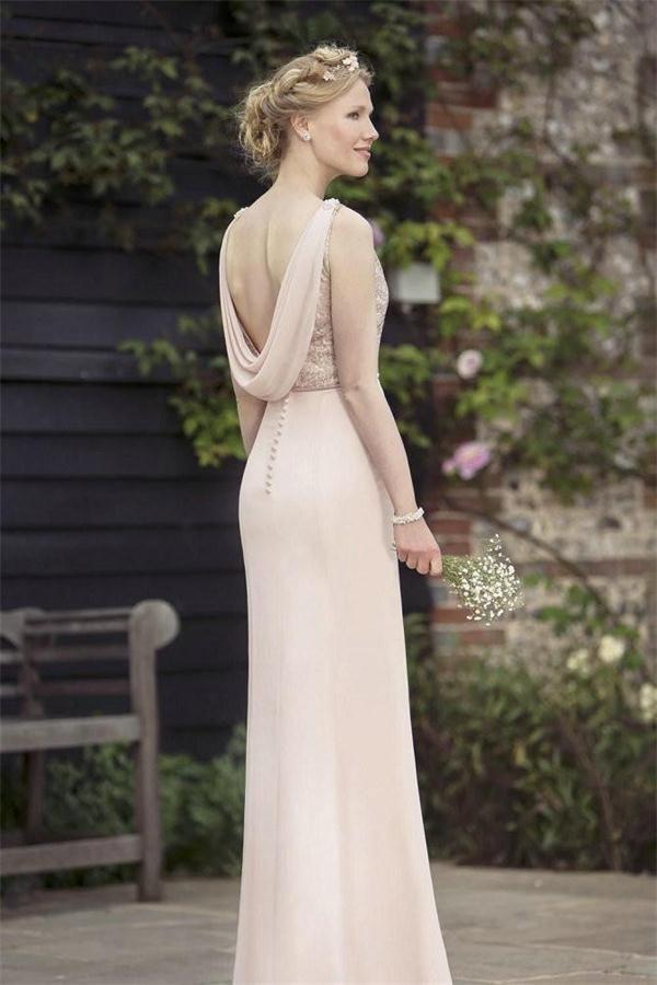 77724eccd186 Classy Beautiful Sheath Pink Chiffon Simple Cheap Long Bridesmaid Dresses  Z1397