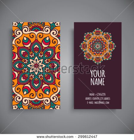 Business Card. Vintage decorative elements. Ornamental floral business cards, oriental pattern, vector illustration. Islam, Arabic, Indian, turkish, pakistan, chinese, ottoman motifs.