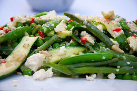 Warm spring veg #salad dressed with a chilli and garlic vinaigrette. #recipe