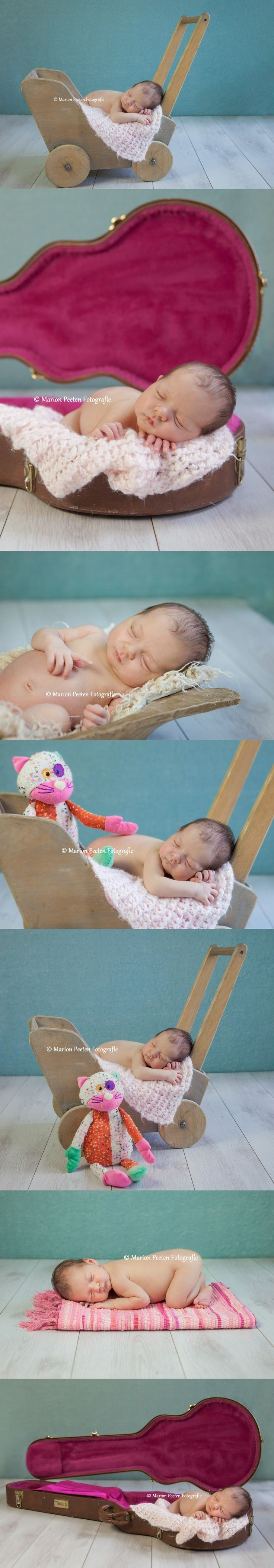 Newborn fotografie Limburg, studio fotografie.Newborn in gitaarkoffer. Newborn in guitar case .