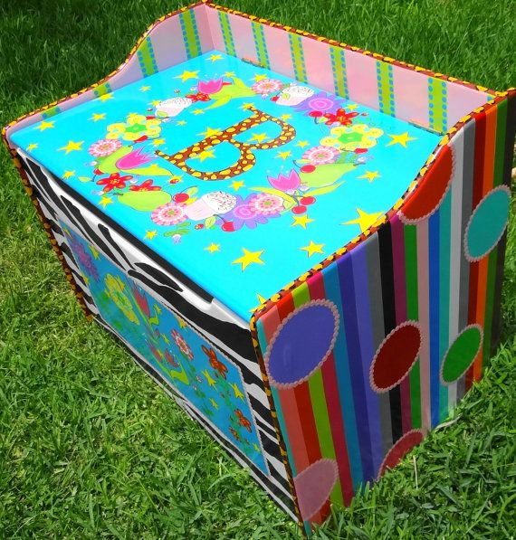 Custom Hand Painted Toy Chest Toy Box Treasure Chest by elliesshop, $525.00