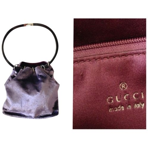 GUCCI Vintage Bucket Bag velluto viola con colona particolare made in italy