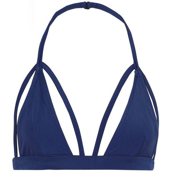 CHROMAT Cutout halterneck bikini top (760 SEK) ❤ liked on Polyvore featuring swimwear, bikinis, bikini tops, storm blue, high waisted bikini bottoms, halter top, high rise bikini, high waisted cut out bikini and blue bikini