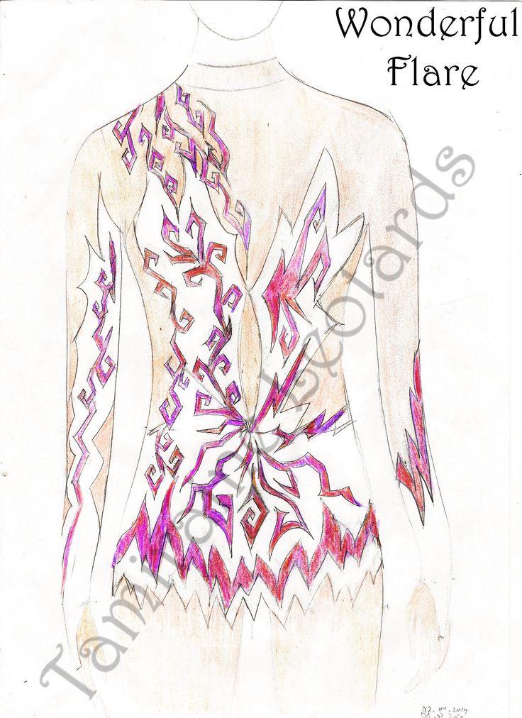 Wonderful Flare - Design for rhythmic gymnastic leotard, created by Tamiraine Leotards