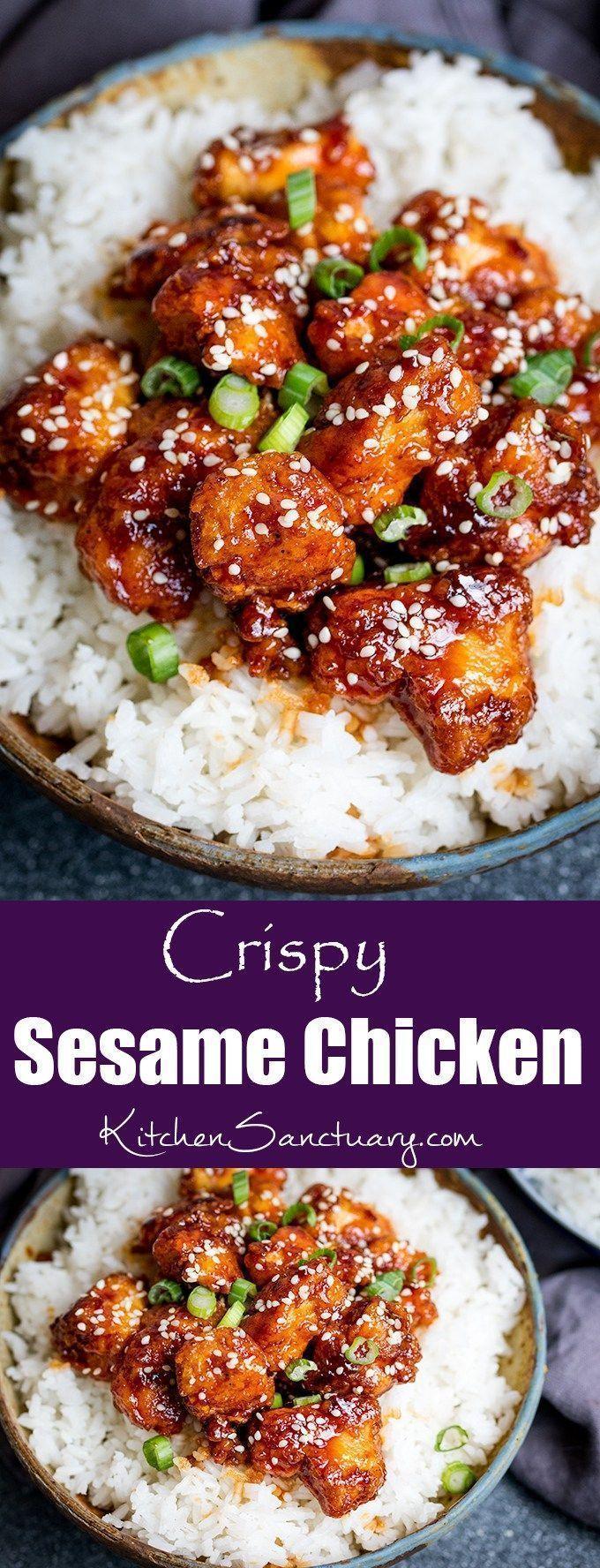 Crispy Sesame Chicken with a Sticky Asian Sauce – … – #asian #Chicken #Crispy …