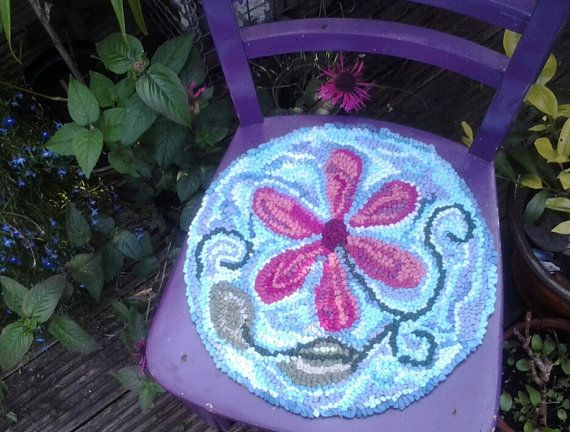 Round Chair Cushion Seat Pad Hand Hooked Small Mat Chair