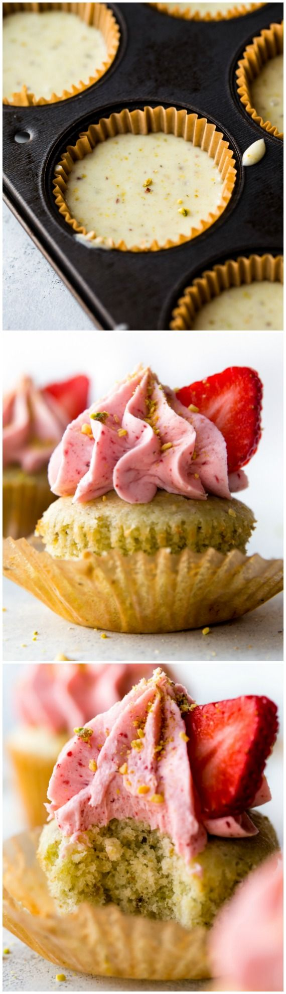 Soft, fluffy, and sweet pistachio almond cupcakes with lots of creamy strawberry frosting from scratch!! Recipe on sallysbakingaddiction.com