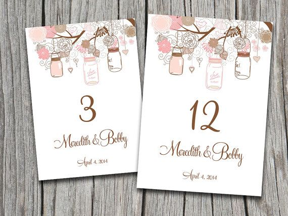 table numbers for wedding reception templates - mason jar wedding table number template download rustic
