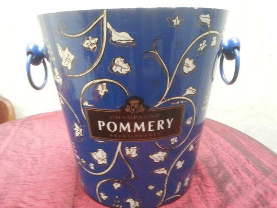 Vintage French Magnum Pommery Champagne ice bucket, Pommery Magnum champagne bucket,  Seau champagne Pommery, retro Pommery blue and white