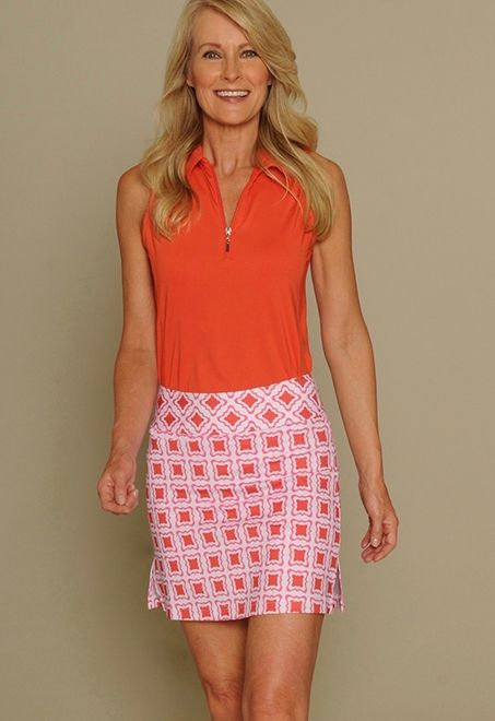 Orange & White Golftini Ladies Golf Outfits (Shirt & Skort)! Find more awesome golf apparel at #lorisgolfshoppe
