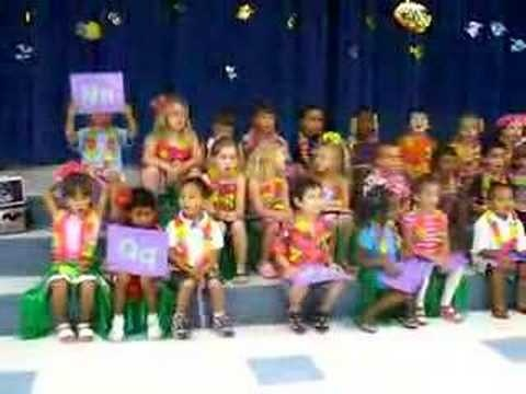 I found this example of what one Pre-K did. I like the leis and them holding up each letter as it is referenced in the song. (I think I would like to do the same idea, but with the Chicka Chicak Boom Boom song)