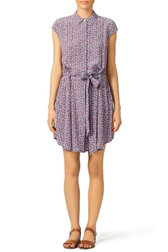 6e21c301f9 Tory Burch Gigi Printed Waist-Tie Mini Shirtdress US 4