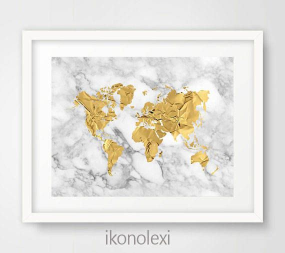 Gold World Map World Map Poster Map Of The World World Map Print Gold And Marble World Map Decor Office Wall World Map Art World Map Decor Gold World Map