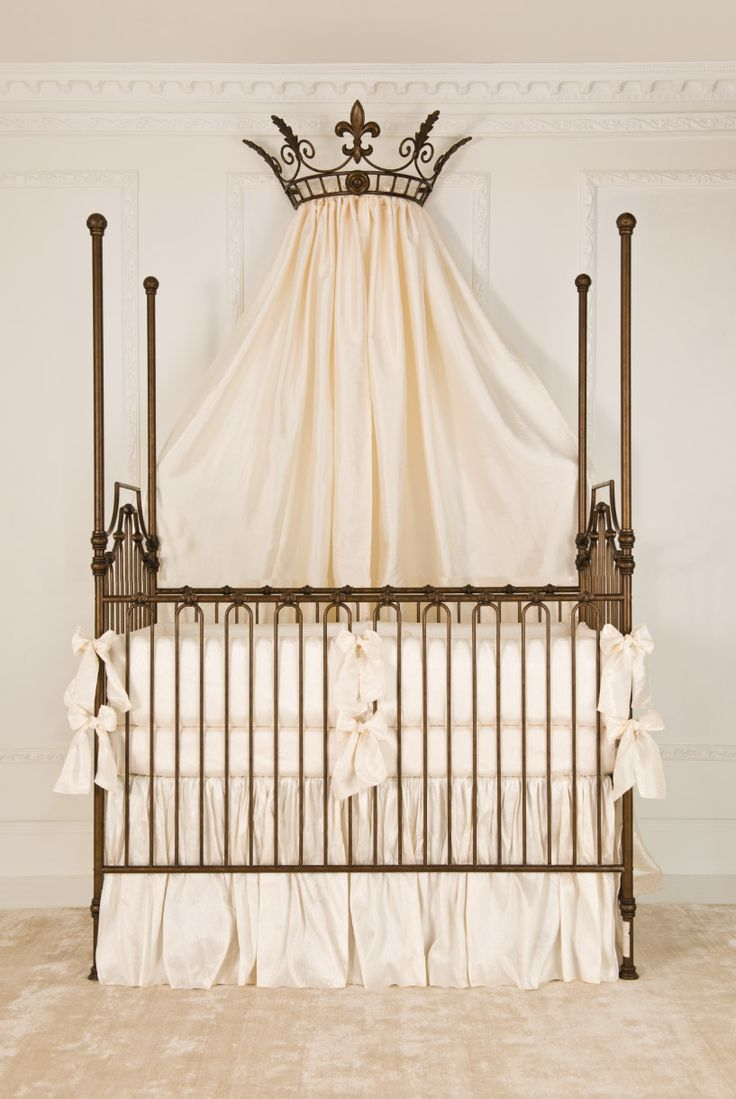 Best crib sheets for baby - This Gorgeous Four Poster Iron Baby Crib In Vintage Gold Matching Wall Crown Is Dressed