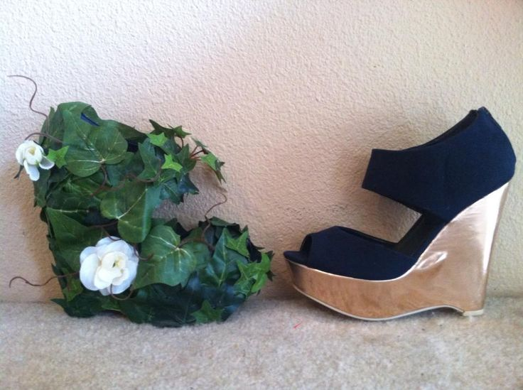 Before and after modifications to basic wedge shoes for my Poison Ivy costume. Starfest here I come!
