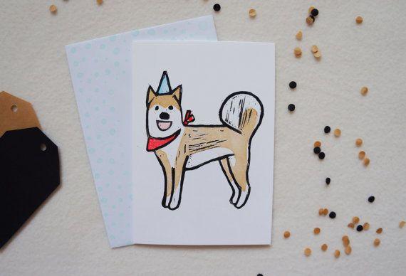 Party #Shiba Inu #Lino print Linocut Dog puppy Happy Birthday Celebrations hat and bandana scarf hand printed greeting card. Free UK Shipping