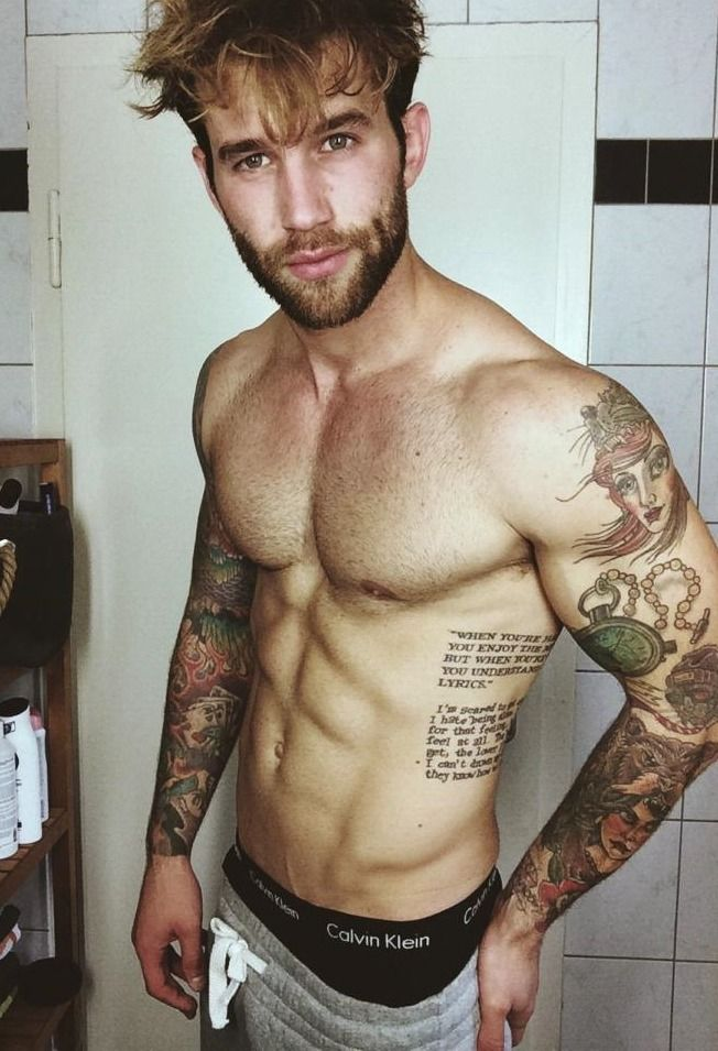 Andre Hamann YASSSSS he's a BMTH (Bring Me The Horizon) fan! The bottom tattoo on his ribs.