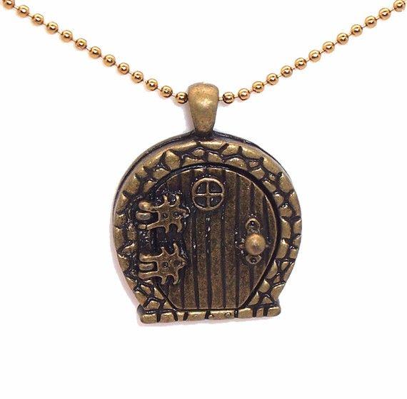 HOBBIT Door, locket Necklace, ant. brasstone