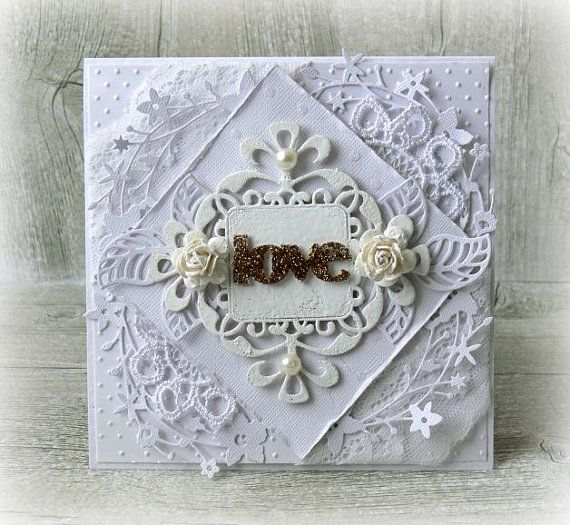 Handmade wedding card  Love card  engagement by CarmenHandCrafts