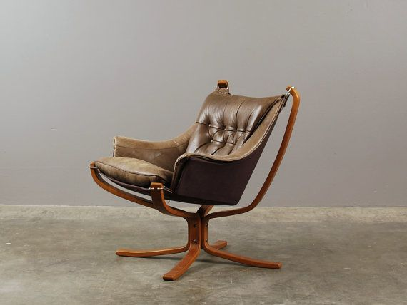 Sigurd Ressell Falcon Chair in Grey-Brown Leather by MadsenModern - $1195