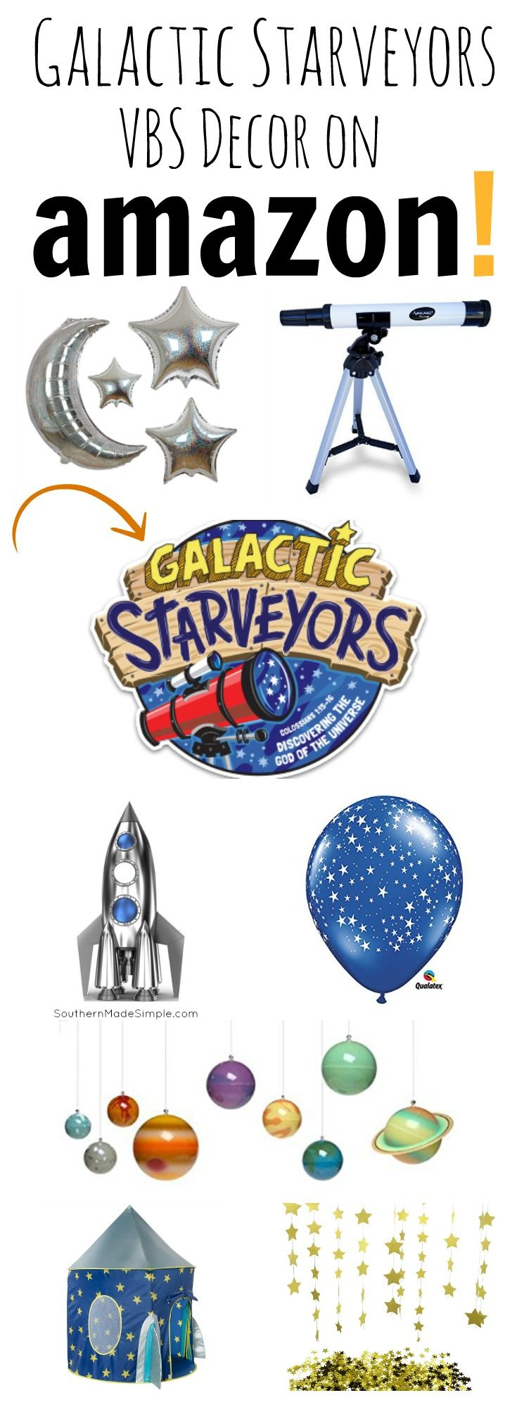 Looking for Galactic Starveyors VBS decor? Need some ideas on how to decorate? Amazon has all you need to make a STELLAR scene for Lifeway's Galactic Starveyors Vacation Bible School 2017 Theme!