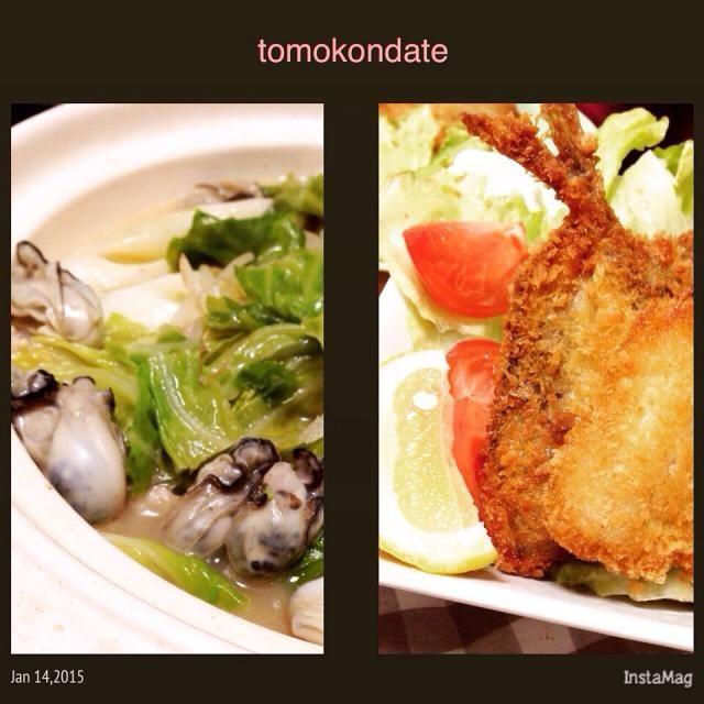 お水を使わずお酒で作る美酒鍋♩ 鶏肉と牡蠣をメインに白菜でなくキャベツで♩ カボスポン酢で頂きました。 美味しい鯵のアジフリャ〜と共に♡ - 74件のもぐもぐ - 牡蠣とキャベツ美酒鍋とアジフリャ〜♡ by tomokondate