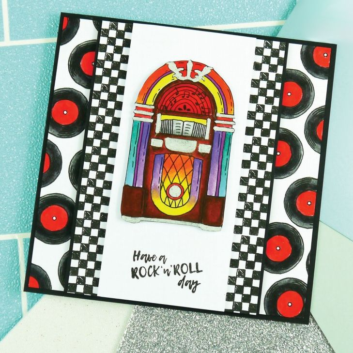 Card created using For the Love of Stamps Rock 'n' Roll Jukebox Stamp Set