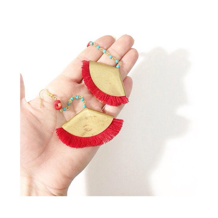 #Vintage earrings - #red tassels- #turquoise stones