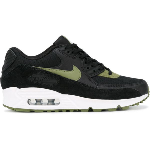 Nike Air Max 90 Essential Sneakers (7,130 INR) ❤ liked on Polyvore featuring shoes, sneakers, black leather sneakers, green shoes, black leather trainers, lace up sneakers and leather shoes