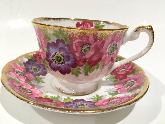 Royal Standard Tea Cup and Saucer, Carmen, Pink Tea Cups, English Bone China Antique Tea Cups Vintage