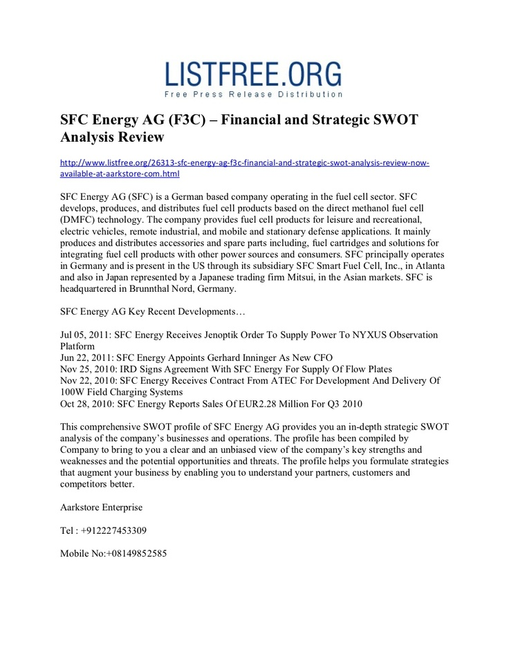 Sfc Energy Ag FC  Financial And Strategic Swot Analysis Review