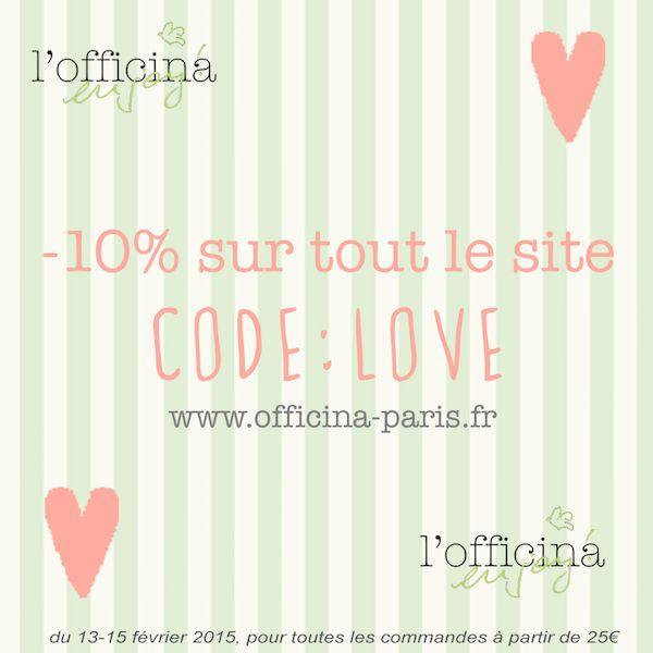 -10% de réduction sur tout le site de l'Officina Paris. Code: LOVE  Enjoy ! * pour toutes les commandes à partir de 25€ offre valable du 13-15 février 2015 #codepromo #love #stvalentin #valentinesday #amour #offrespeciale #reduction #cosmetiques #naturel #bio #organic #beautenaturelle #beautebio #vegan #skincare #haircare #makeup #bodycare #eshop #lofficina www.officina-paris.fr