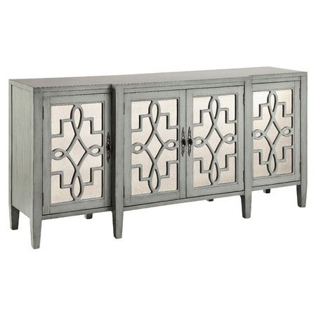 Elegant mirrored doors with lattice overlay add eye-catching appeal to this chic sideboard, while its sage gray finish offers understated elegance. Place it ...