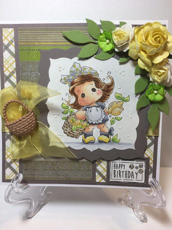 Happy Birthday Card For Her Fancy Handmade Greeting 3D Girl And Basket Of Lemons