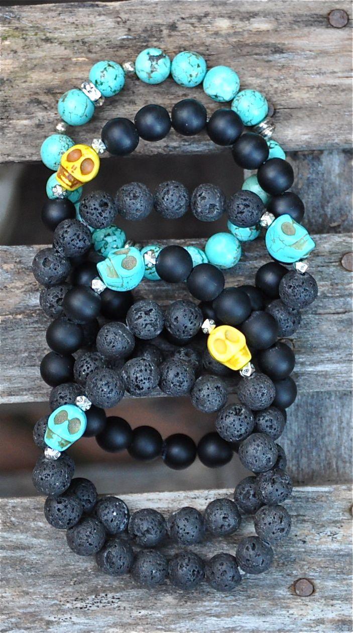 NEW Skull Bracelets   Halloween by BeadRustic