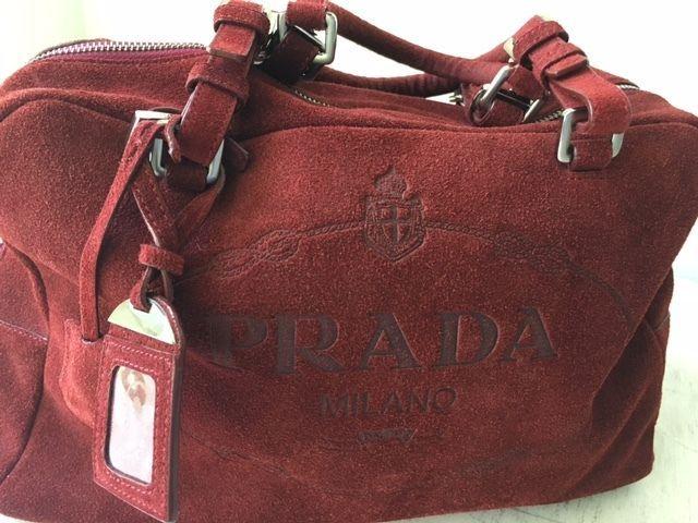 Prada Suede Clutch Handbag Purse Burgandy/Red Italy Authentic SALE