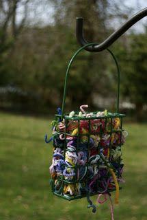 Yarn bird feeder for nest building