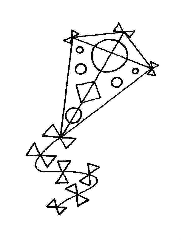kite round and triangle images coloring pages for kids printable kites coloring pages for kids - Kite Coloring Page